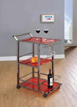 Industrial Red Serving Cart