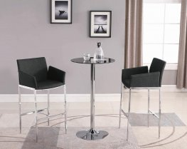 Contemporary Grey and Chrome Bar-Height Stool