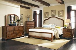 Laughton Rustic Brown Upholstered Cal. King Bed