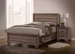 Kauffman Transitional Washed Taupe E. King Bed