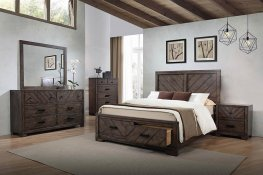 Lawndale Rustic Weathered Grey E. King Bed