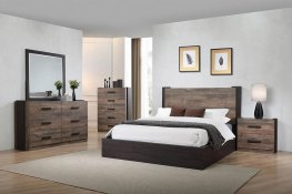 Weathered Oak and Rustic Coffee E. King Bed