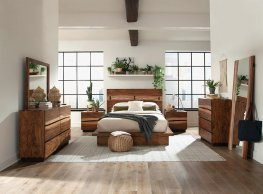 Rustic Smoky Walnut E. King Storage Bed