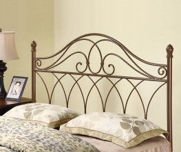 Rich Brown Metal Headboard with Weave Design