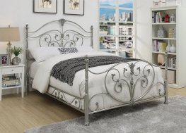 Evita Silver Metal Scrollwork King Bed