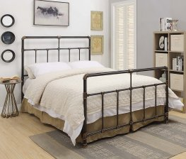 Silas Antique Brass Metal Cal. King Bed