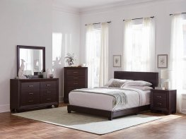 Dorian Brown Faux Leather Queen Bed