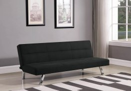 Modern Black and Chrome Sofa Bed