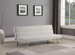 Modern Beige and Chrome Sofa Bed
