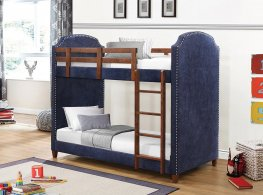 Charlene Navy Twin-over-Twin Bunk Bed