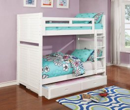 Edith Cottage White Twin-over-Twin Bunk Bed