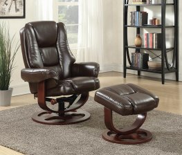Transitional Brown Chair with Ottoman