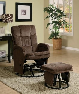 Chocolate Reclining Glider & Ottoman