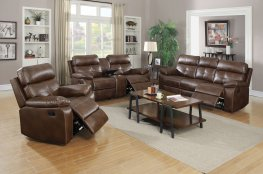 Zimmerman Brown Faux Leather Sofa & Love