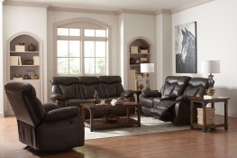 Zimmerman Dark Brown Faux Leather Sofa & Love