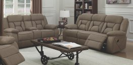 Houston Casual Tan Reclining Sofa & Love