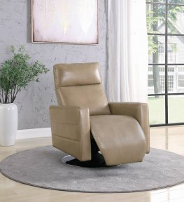 Taupe Swivel Push-Back Recliner
