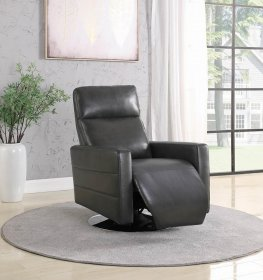 Grey Swivel Push-Back Recliner