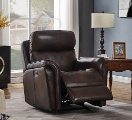 Dark Brown Pillow Top Power3 Glider Recliner