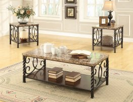 Occasional Table Sets Transitional Faux Marble 3 Pc.