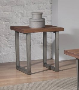 Industrial Walnut End Table