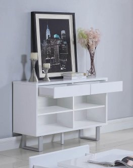 Contemporary Glossy White Sofa Table