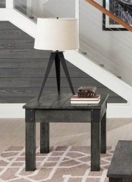 Country Rustic Grey End Table