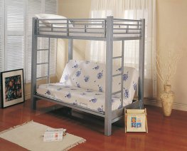 Youth Metal Glossy Silver Bunk Bed