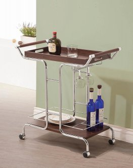 Transitional Walnut and Chrome Serving Cart