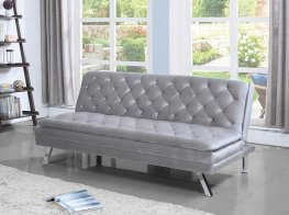 Glamorous Silver and Chrome Sofa Bed