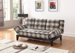 Causal Grey and Brown Plaid Sofa Bed