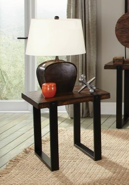 Industrial Vintage Brown End Table