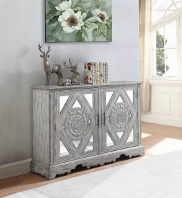Traditional Distressed Grey Accent Cabinet